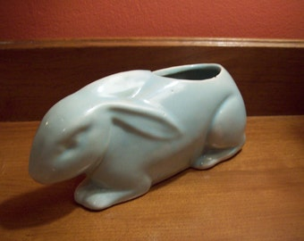 Vintage Pale Green Pottery Old Fashioned Rabbit Planter