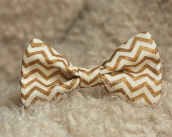 Men's or Boy's Cream Bow Tie with Gold Chevron,  Wedding or Chirstmas Photography Prop Bowtie Baby Child Adult Accessorie