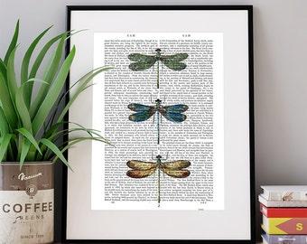 Boho decor - Dragonfly Print 1 - Dictionary Print Dragonflies Summer wall print Lodge decor Canvas art poster Womens gift Nature wall art