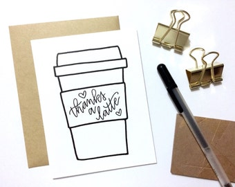 Thank You Card - Thanks A Latte | Coffee Lover Card, Latte Card, Punny Card, Coffee Gift Card, Teacher Card, Coffee Thank You Card