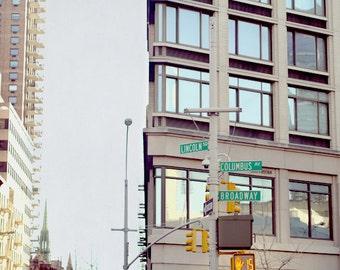 New York City print, street sign art, New York decor, Upper West Side, nyc photography 11x14, Manhattan art Columbus Broadway corner picture