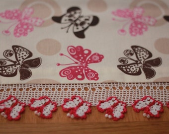 Butterfly table runner with crochet detail
