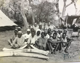 Vintage 9 x 7 black-and-white photo of African safari camp crew and leaders