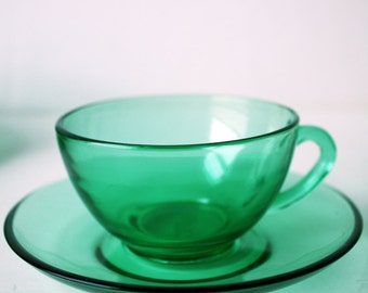 French, Almanac, Green, Glass Cups and Saucers x Four