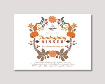 Thanksgiving Invitation, Thanksgiving Dinner Invitation, Printable Thanksgiving Invite - TSG02