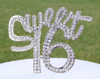 Sweet 16 Cake Topper - Crystal Rhinestone Silver Sweet Sixteen Birthday Cake Top Gift 16th Party Anniversary Centerpieces CT162