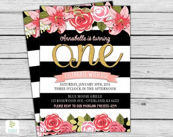 GIRL First Birthday Party Invitation, Black White Stripes, Pink Gold First Birthday Party, ONE, floral birthday invite pink flower