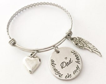 Memorial bracelet - Remembrance jewelry - Dad bracelet - Hand stamped memorial bracelet - Stainless steel bracelet