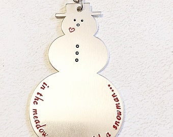 Hand stamped ornament - Chritmas ornament - Snowman ornament - Personalized ornament- Christmas decoration