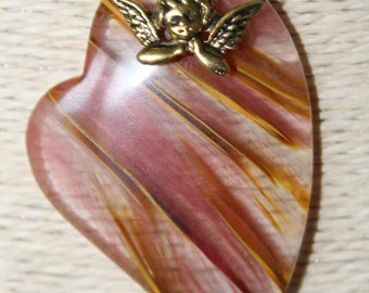 """Angel Heart Natural Agate Gemstone Necklace on a 9ct gold plated 18"""" chain, boho, one of a kind"""