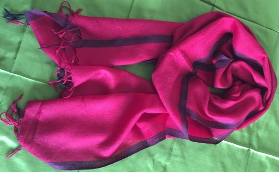 Red Semi Pashmina Cashmere scarf woven with narrow grey border for men women. Unisex. Soft Warm Comfortable