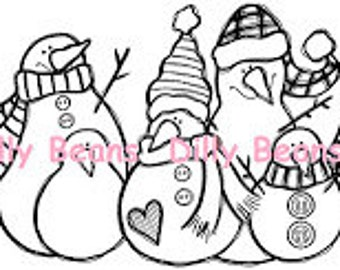 Snowman Family Digi Stamp #320 Dilly Beans by Megan