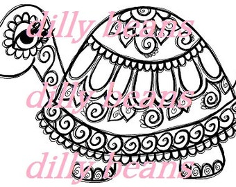 Daisies & Swirls Turtle Digi Stamp #481 Dilly Beans by Megan