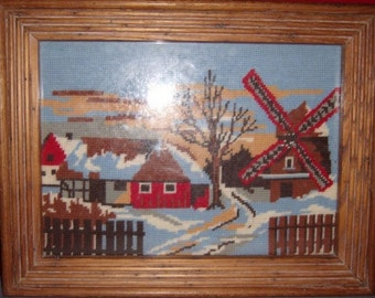 Framed Windmill Cottage Needlepoint In Handmade Wooden Frame – EUC