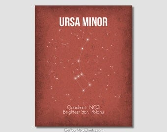 Constellation Poster - Ursa Minor - Wall Art Print - Available as 8x10, 11x14 or 16x20
