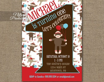 1st Birthday Invitations - Sock Monkey Birthday Invitation - Printable Sock MonkeyFirst Birthday Party - One Year Old Sock Monkey Invite SMK