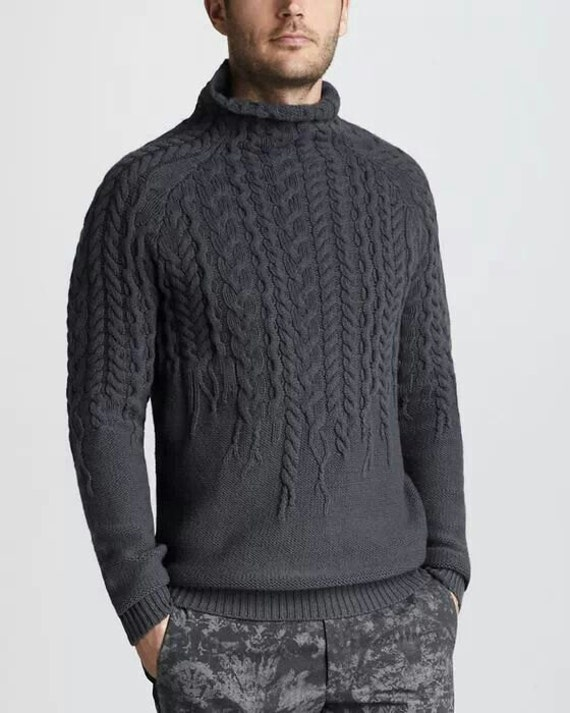 Hand Knitting Designs Sweaters For Men : Made to order turtleneck sweater aran men hand knitted