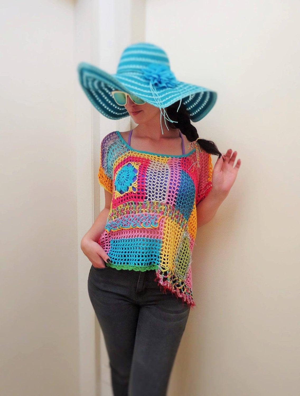 Knitting Summer Tunic : Boho knit tunic tops women hand spring summer