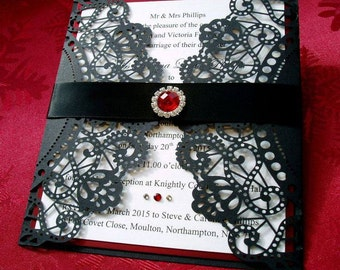 Highgate. Gothic Style Wedding Invitation in Black and Red.