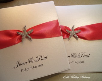 Bayswater. Beach Wedding Invitation with Crystal Starfish. Various Colour Options for Satin Ribbon.
