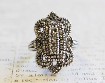 Vintage Antiqued Silver Tone Ring with Genuine Marcasites  Made in USA #R1415