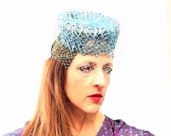 Blue Pillbox Hat with Veil