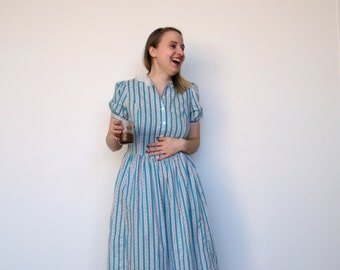 The Laura Ashley Striped Prairie Dress