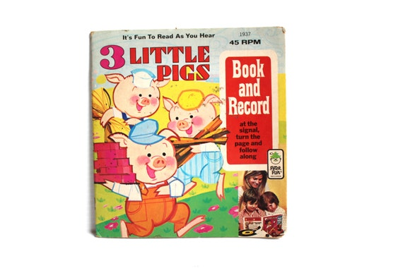 The THREE LITTLE PIGS Book and Record Vintage Vinyl 45 Record