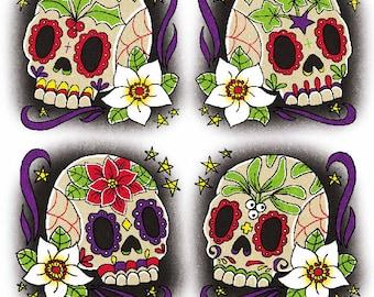 Sugar Skull/Calavera/Day of the Dead alternative goth dark Christmas Cards set of 4