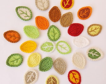 Leaves Applique MIX From Cotton Yarn-  Leaves Supplies For Clothing, Hair Clips, Handbags 25pcs