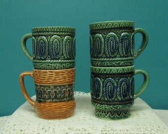 Retro Coffee Mugs ~ Orange and Green Ceramic Stacking Coffee Cups ~ Group of 4 ~ Mad Men Coffee Cups ~ Dripware Coffee Mugs ~ Made in Japan
