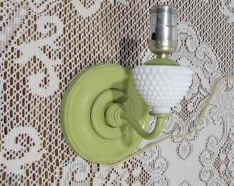 Shabby Chic Wall Mounted Electric Lamp ~ Green Electric Lamp ~ Milk Glass Electric Lamp ~ Wall Sconce Lamp ~ Green Shabby Lamp