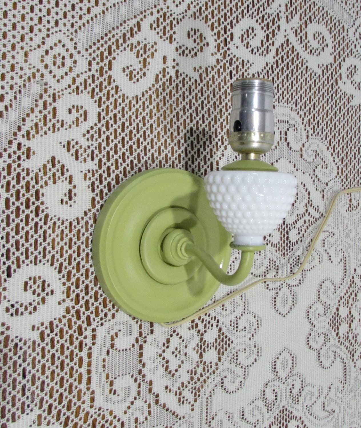 Wall Mounted Electric Lamps : Shabby Chic Wall Mounted Electric Lamp Green Electric Lamp