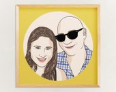 Custom Portrait, 2 people, digital drawing, unique gift for birthday, wedding, family, children, mother day, couple portrait, best friends…