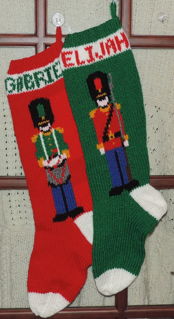 Knitting Patterns Toy Soldiers : Christmas Stocking DrummerBoy or Toy Soldier Hand Knitted