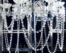 10 Strands 15inches Clear Crystal Acrylic Bead Garland Briolette Pendant Chandelier Hanging Wedding Decorations Centerpieces