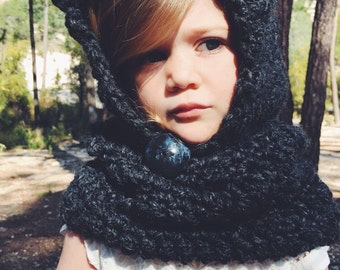 Bear Hat crochet hooded cowl baby hat childrens costume warm soft hoodie scarf the velvet acorn design