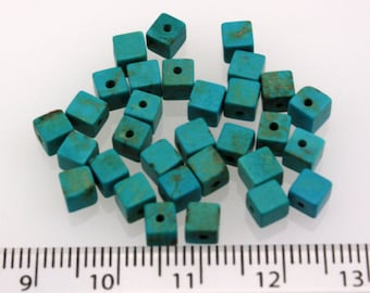 Stabilized Turquoise Cubes (4 mm) (hole is at side) (30 beads)