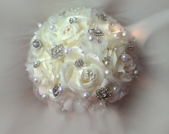 Bridesmaids Brooch Bouquet, Bridesmaids Bouquets, Brooch Bouquets,  White or Ivory Bouquet, Available in Your Wedding Colors, Full Price