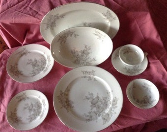 Vintage 60s china Silver Glow by Continental grey roses