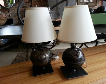 Salvaged and repurposed highway torch lamps