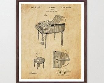 Piano Poster - Piano Art Print - Piano Patent Print - Music Poster - Music Art Print - Music Poster - Baby Grand Piano - Patent Poster