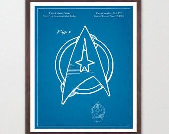 Star Trek Patent Poster - Star Trek Enterprise - Enterprise Patent - Kirk - Spock - Star Trek Art - Star Trek Wall Art - Star Trek Decor