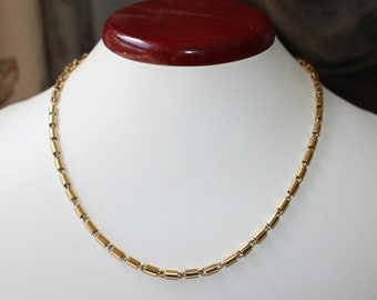 Vintage TRIFARI Gold Plated Barrel Link Chain Choker Necklace