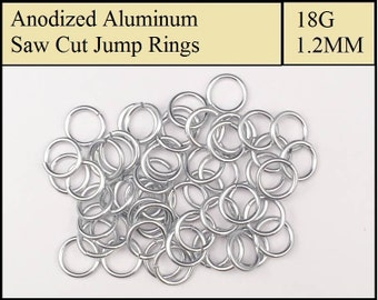 100 Silver Aluminum Jump Rings - 1.2mm = 18 gauge (SWG) = 16 gauge (AWG) wire - Anodized 5356 Aluminum - Saw Cut - On sale!!
