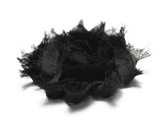 Shabby Flower Clip,  Black Shabby Flower, Toddler Hair Clip, Baby Hair Clip, Hair Clip, Flower Hair Clip, Hair Barrette