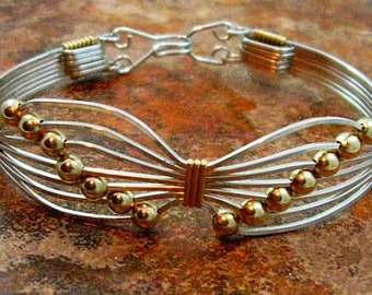 BUTTERFLY BRACELET, Sterling Silver with Gold Beads, symbolic, survivor, transformation & rebirth, Made To Order 8873