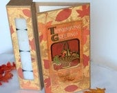 Handmade Thanksgiving Greetings Card, Thanksgiving card with Fall leaves, Tea light candle card, Thanksgiving gift
