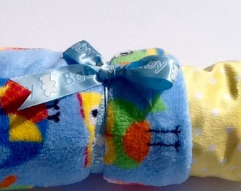 Baby Blanket Polar Fleece and Minkee. Super soft  delightful blue background and bright primary Owls BABY WRAP or pram use.