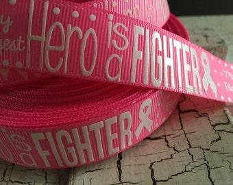 "3 yards 7/8"" Breast Cancer Awareness Symbol HERO FIGHTER Grosgrain ribbon Hot Pink"